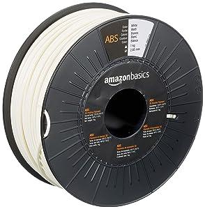 AmazonBasics ABS 3D Printer Filament, 2.85mm, White, 1 kg Spool