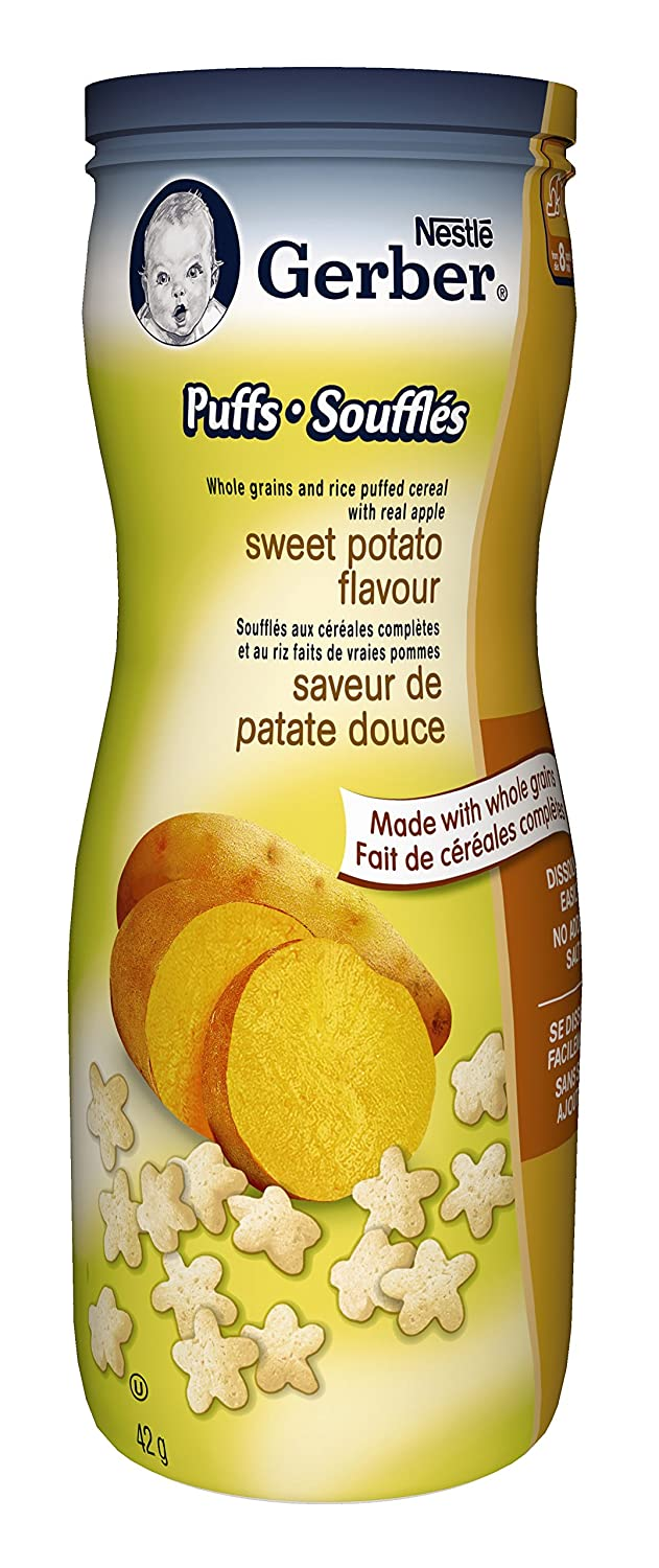 Gerber Strawberry Apple Puffs, Snack, 42g canister (6 pack) - Packaging May Vary Nestlé