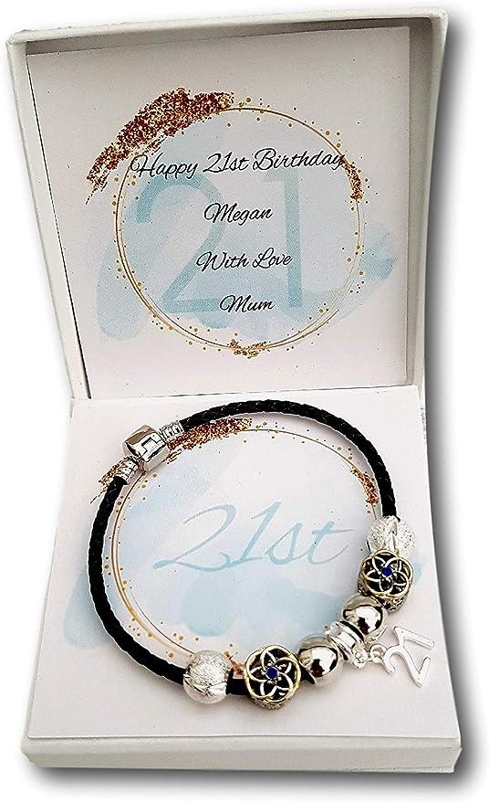 16th 18th 21st 30th 40th Girls Ladies Birthday BlackLeatherBracelet Gift Present