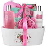 Relaxing Bath Spa Kit For Women and Teens, Gift Set Bath And Body Works- English Rose Aromatherapy Spa Gift Basket Includes Shower Gel, Body Lotion, Hand Lotion, Bath Salt, Sponge and EVA Sponge