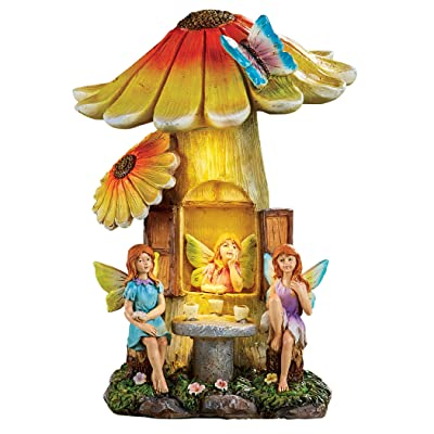"""Collections Etc Hand-Painted Solar Powered Sunflower Fairy Garden House - Great in a Garden, Patio, Lawn, or Yard - Resin - 6.25"""" L x 6"""" W x 9"""" H: Home & Kitchen"""