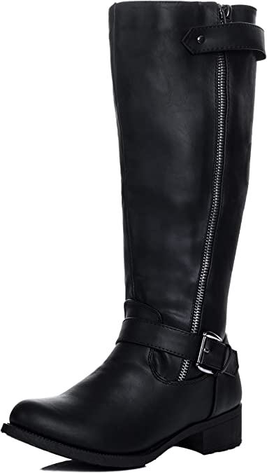 ALANNAH Black Knee High Tall Boots from
