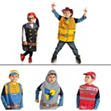 Set of 5 dress up boys Costumes 1 Car racing 2 Knight 3 Cowboy 4 Worker 5 Pirate
