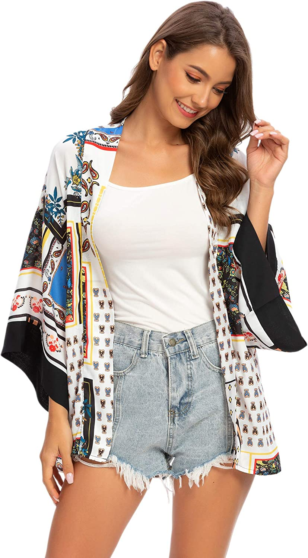 Tribear Womens Sheer Chiffon Kimono Cardigan Solid Casual Capes Beach Cover up