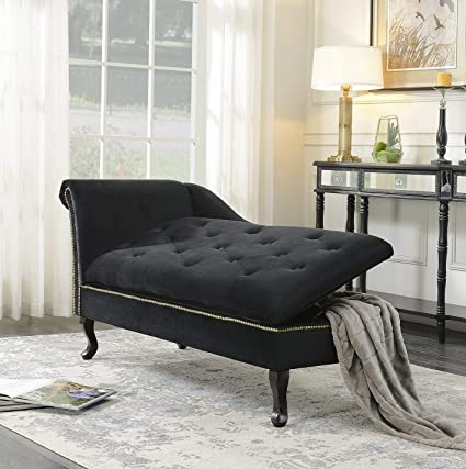 Amazon.com: Hebel Velveteen Button Tufted Storage Chaise ...