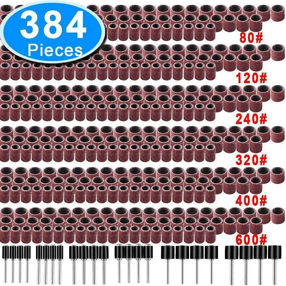 384Pcs Bandes de pon/çage Manchon de tambour 80-600Grit Kit rotatif Mandrel Dremel