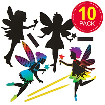 Baker Ross AG836 Fairy Scratch Art Magnets (Pack of 10) for Kids Party Bag Fillers, 10 Pack, Assorted