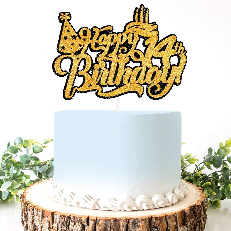 Excellent Amazon Com Aerzetix Birthday Decoration Happy 14Th Birthday Cake Personalised Birthday Cards Veneteletsinfo