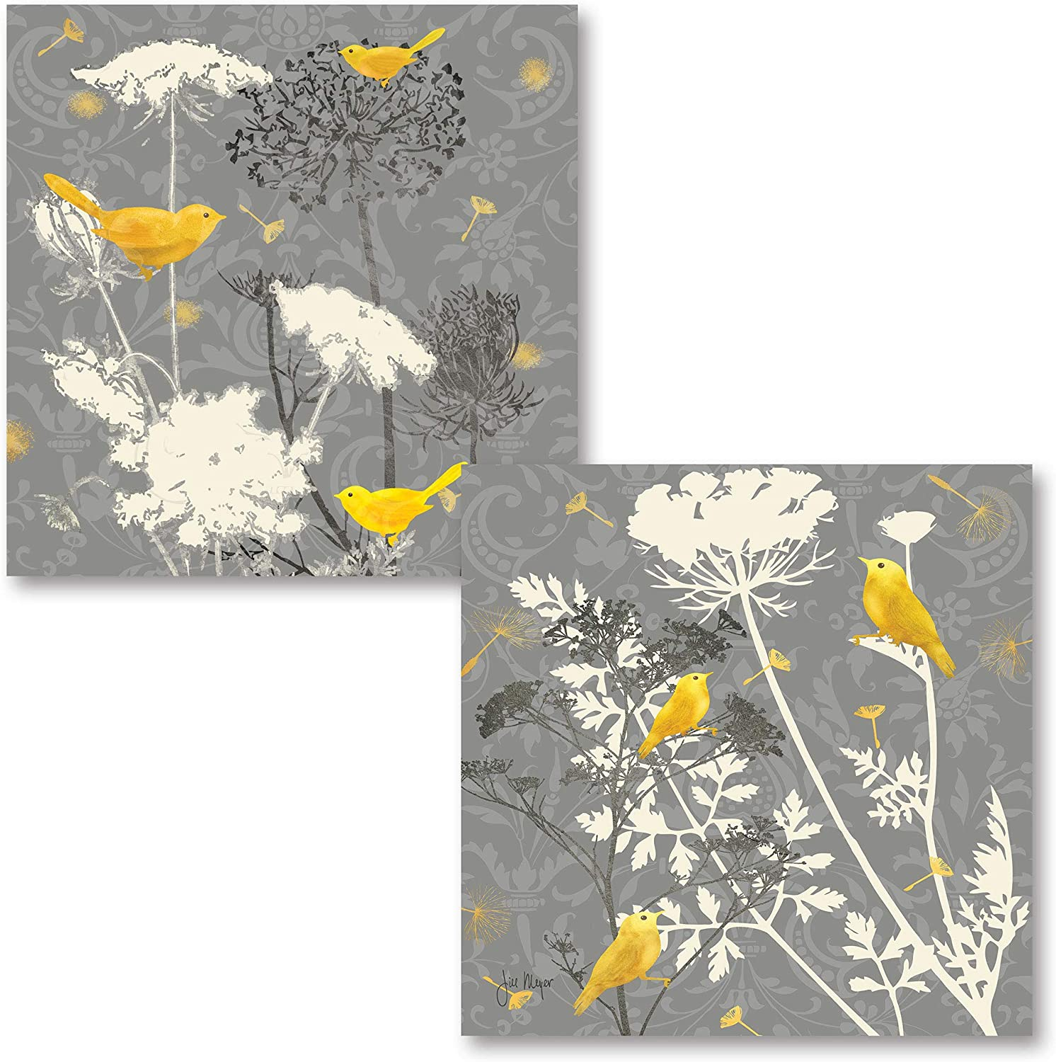 Gray Meadow Lace I Lovely, Popular Grey and Yellow Bird Set; Two 12X12 Poster Prints