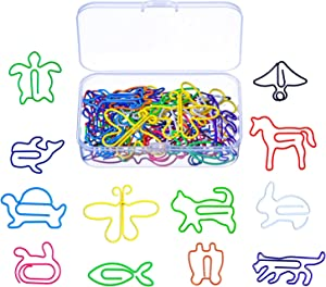 Shappy Multicolor Paper Clips Creative Animal Shape for Bookmark Office School Notebook Agenda Pad, 12 Styles, 60 Pieces