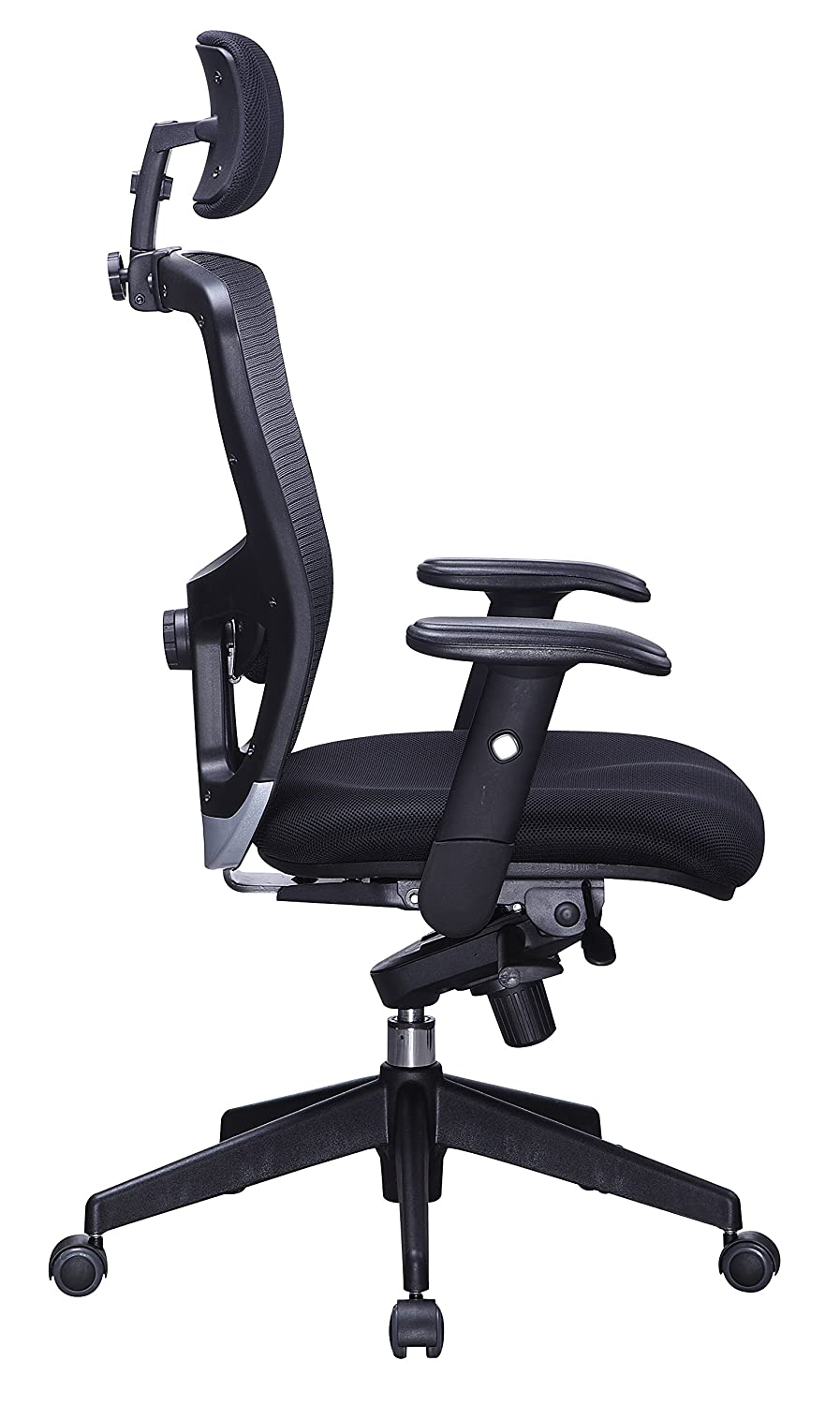 Amazon.com: Office Factor Executive High Back Black Mesh Chair Adjustable  Height Adjustable Lumbar Support Office Chair With Adjusable Head Rest  Adjustable ...