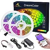 Dreamcolor Tira LED con Bluetooth APP, ALED LIGHT 10m(2x5m) 5050 Impermeable Flexible Tiras LED RGB IC Incorporada…