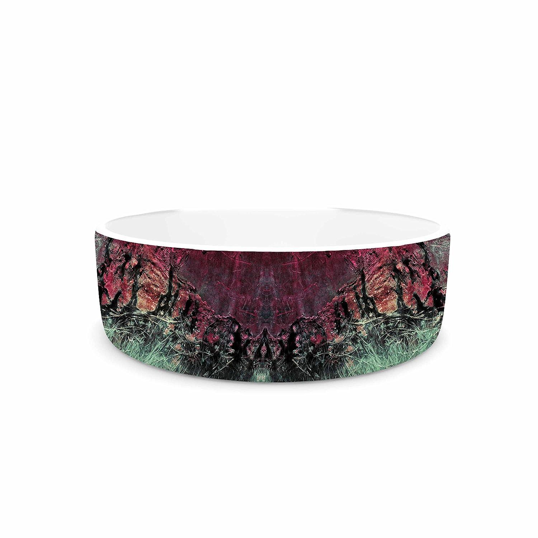 KESS InHouse Pia Schneider Abstract Desert II Pink Red Painting Pet Bowl, 7  Diameter