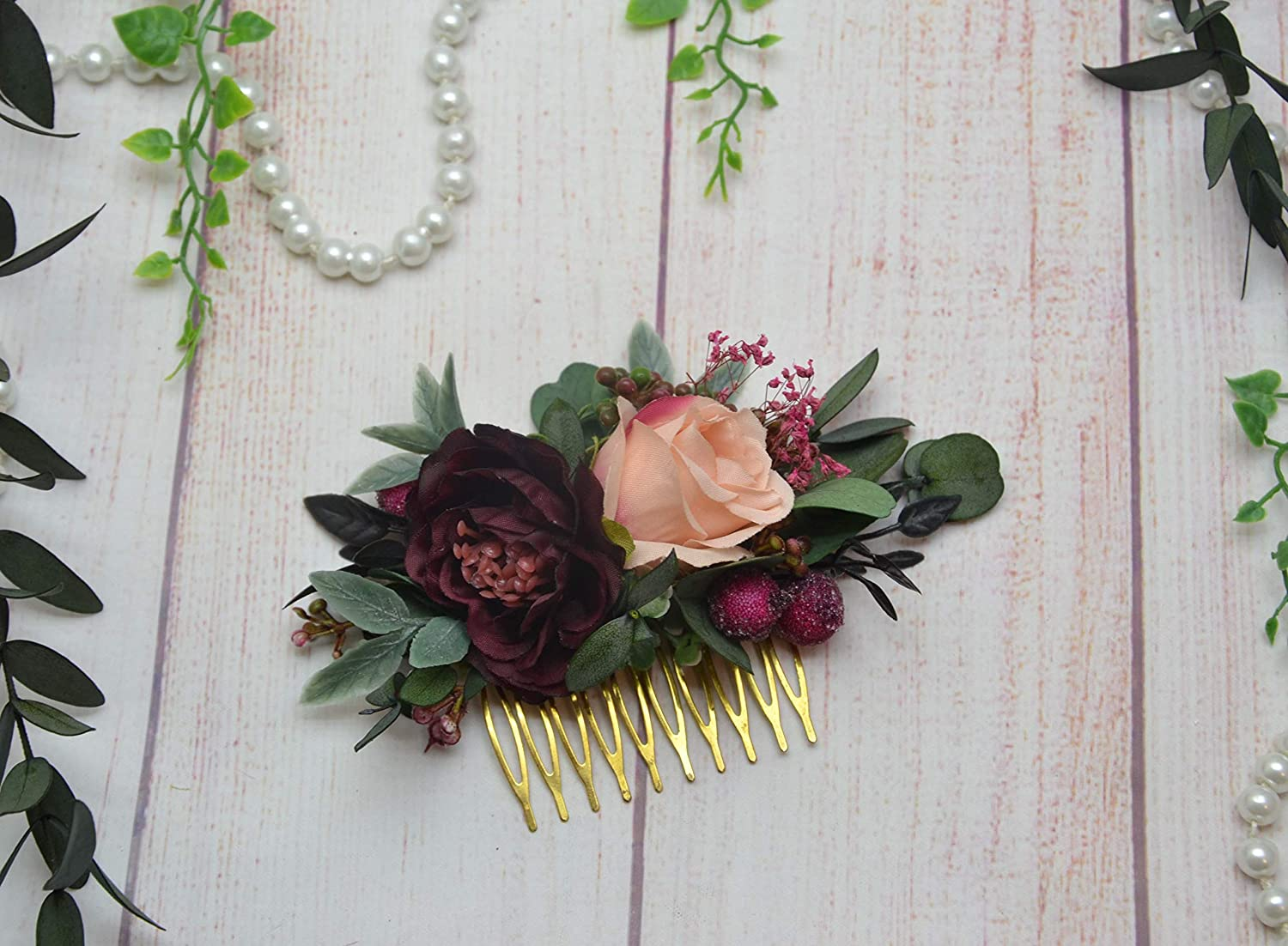 Flower comb bridal hair accessories Burgundy wedding headpieces for bride Blush hair comb Flower girl
