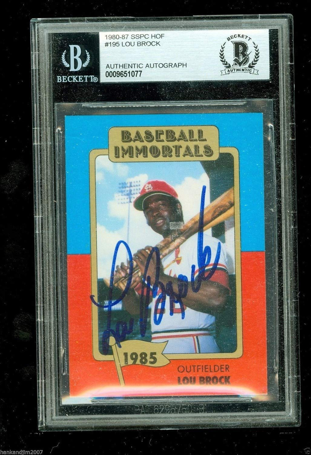 Lou Brock Autographed Signed Baseball Immortals Card Beckett Authentic Encased