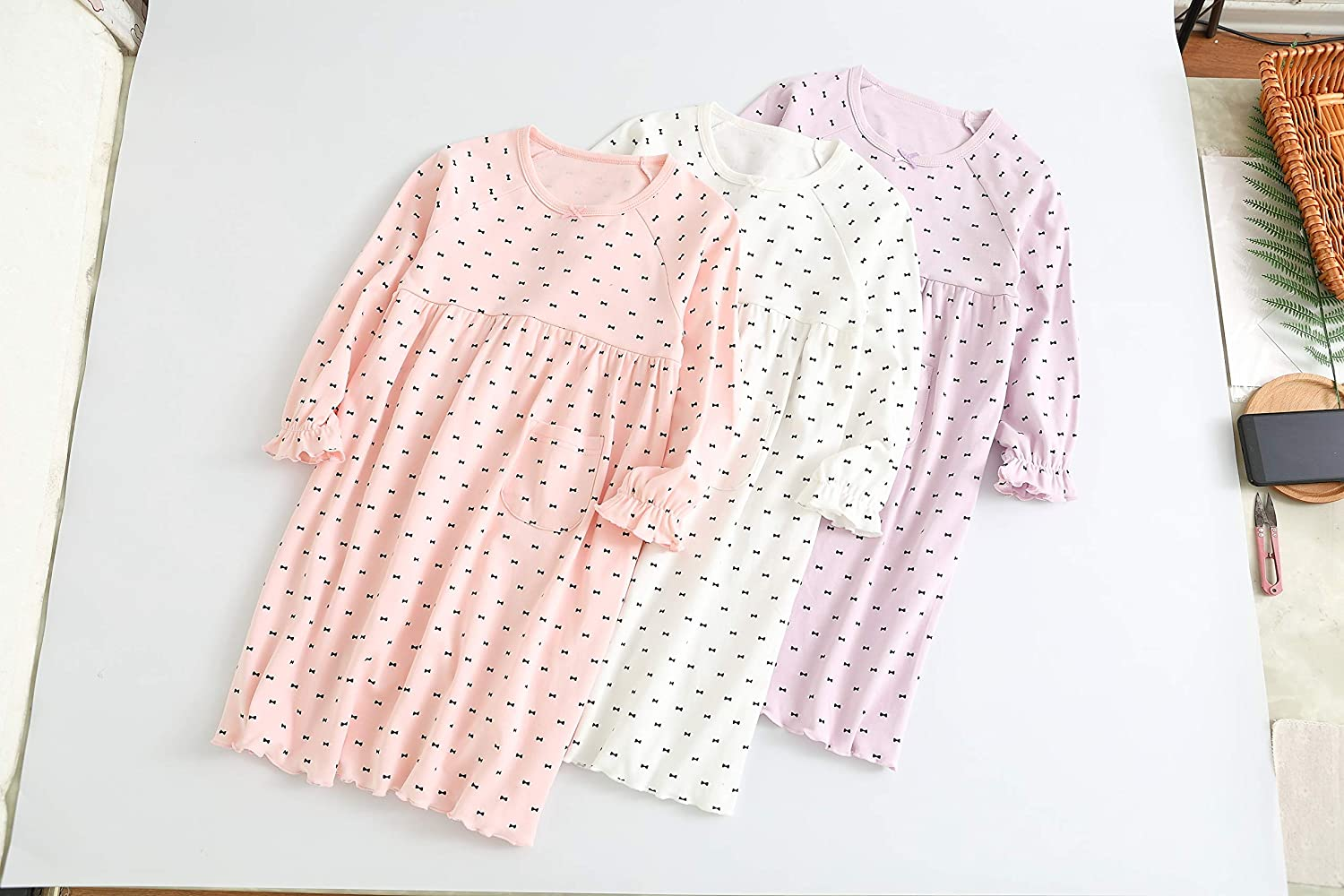 BLOMDE Girls Polka Dots Nightgowns Sleepwear Cotton Nightdress for 3-12 Years