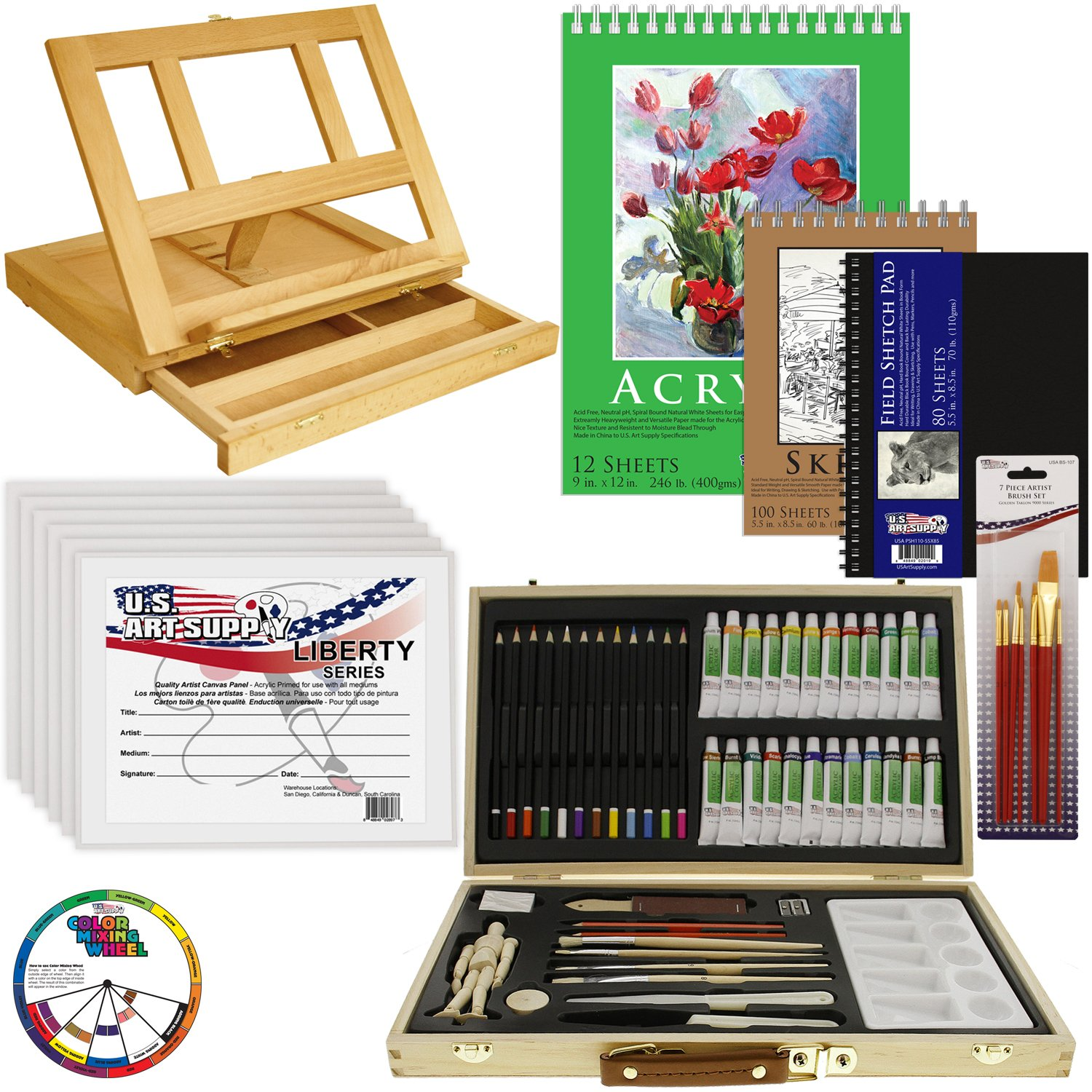 US Art Supply 68-Piece Custom Artist Acrylic Painting Set with, Wood Drawer Table Easel, 24-Tubes Acrylic Colors, 12 Colored Pencils, 2 Graphite Pencils, 9x12 Painting Paper Pad, 6-each 8x10 Canvas Panels, 100-Sheet Sketch Pad, 80-Page Hardbound Sketchbook