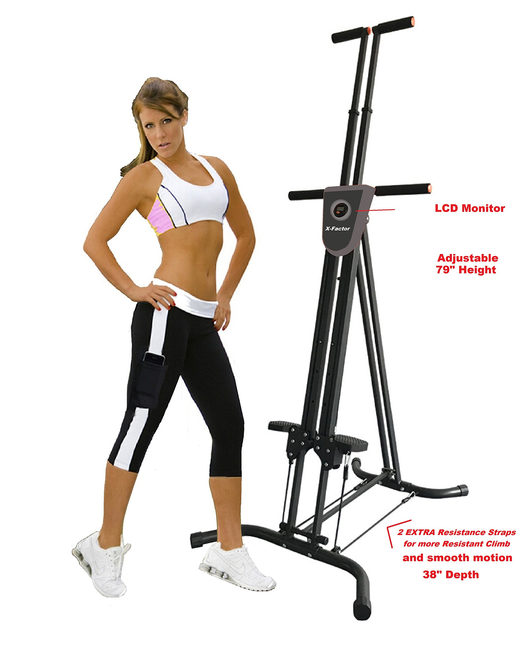 Vertical Climber Cardio Exercise X-Factor with monitor and resistance straps for smooth climbing by X-Factor