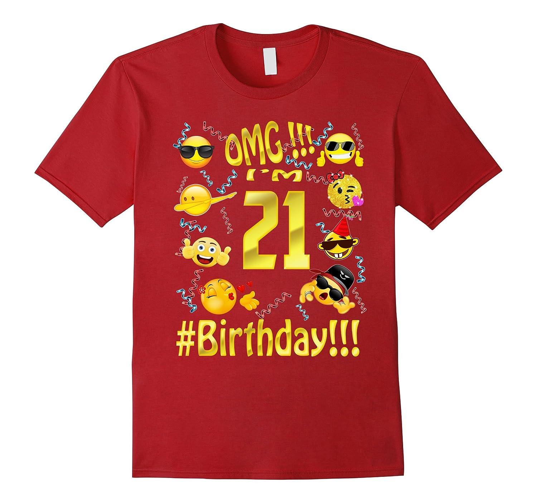 Emoji Birthday Shirt For 21 Twenty One Year Old Girl Boy Par Teeae