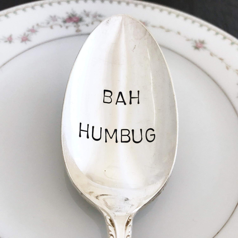Bah Humbug: Vintage serving spoon, hand stamped, various