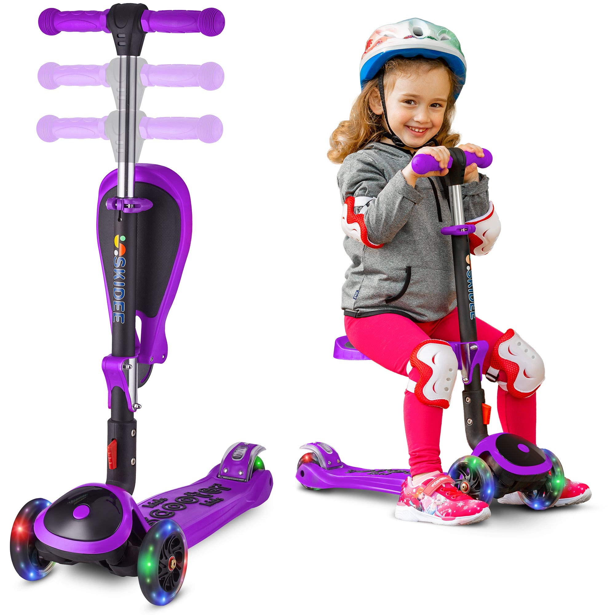 Scooter For Kids with Folding Seat - 2-in-1 Adjustable 3 Wheel Kick Scooter for Toddlers Girls & Boys - Fun Outdoor Toys for Kids Fitness, Outside Games, Kid Activities - Y200 (Purple, Scooter)