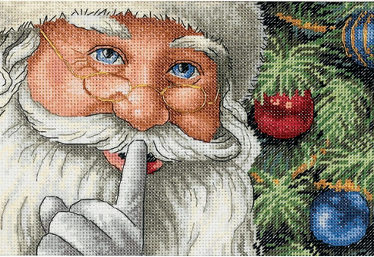 Dimensions Gold Collection Counted Cross Stitch Kit, Santa's Secret Christmas Cross Stitch, 18 Count White Aida, 7'' x 5'