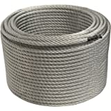 ALEKO WR3/8G7X19F250 3/8 Inch 7X19 Galvanized Aircraft Steel Cable Wire Rope 250 Feet