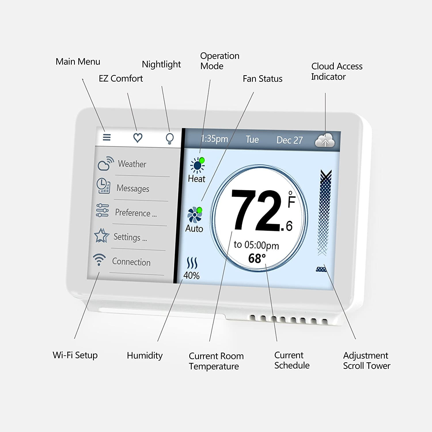 Vine Smart Wi Fi Thermostat With Touchscreen Alexa And Lyric Humidistat Wiring Diagram App Control Software