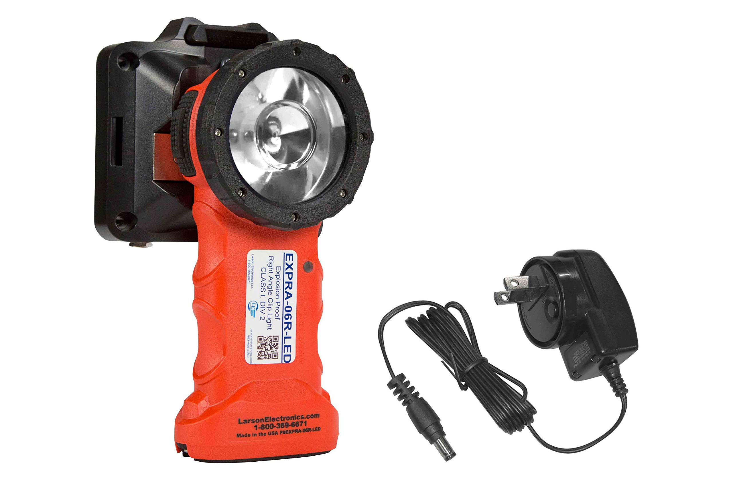 Rechargeable Explosion Proof LED Right Angle Clip Light - Class 1 Div 1 Groups C & D - Made in USA by Larson Electronics