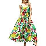 Beaurex Women's Cotton Floral Print Maxi Dresses Spaghetti Strap Casual Long Boho Summer Beach Dress DR6026