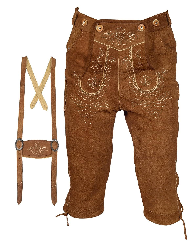 Herren Trachten Lederhose Kniebundhose mit Trägern in Hellbraun Farbe, Trachtenlederhose in Größe 46 bis 60