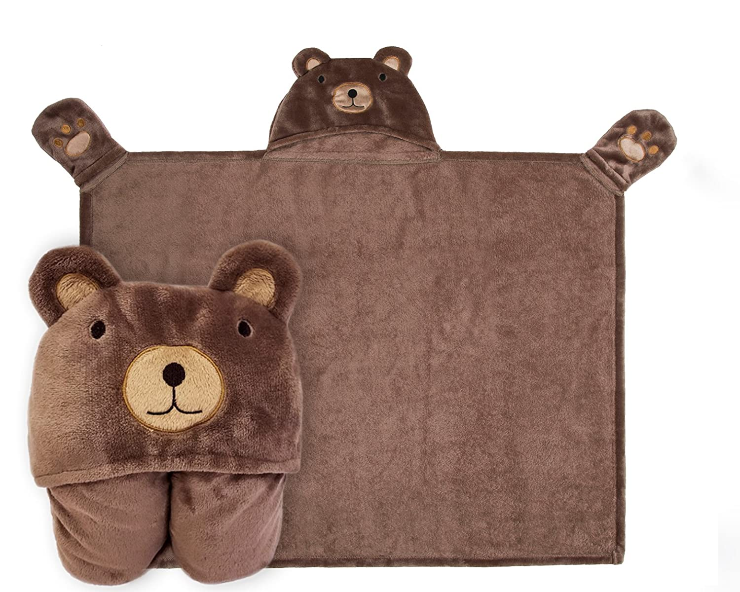 Kids Hooded Blanket,Animal Embroidered Bear Flannel Bath Throw,76x101cm
