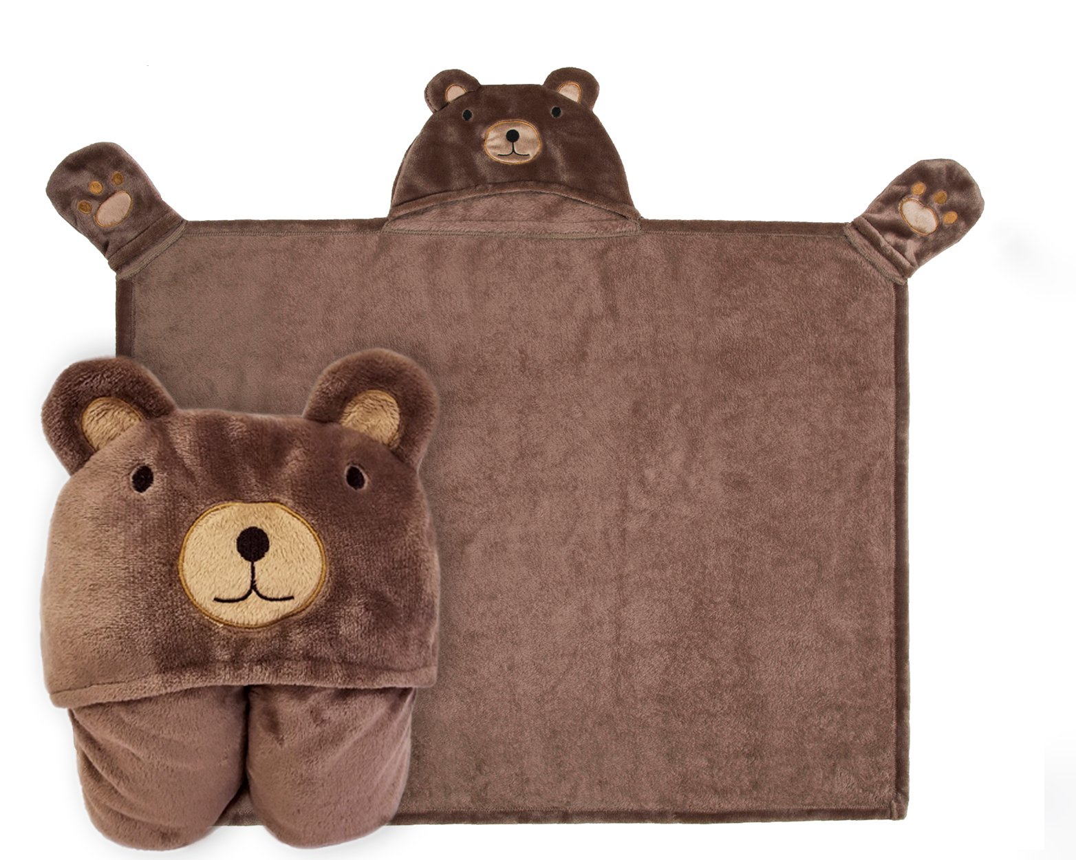 Kids Hooded Blanket,Cute Animal Bear Flannel Fleece Bath Throw,Fit 3-10 Years Old,Best Gifts for Boys and Girls
