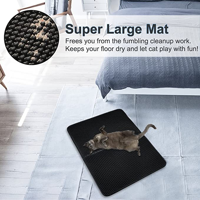 Amazon.com: Cat Litter Mat ,Double-Layer Pet Feeding Mat, Super Size Litter Trapper Pad with Waterproof Base and Non-slip Backing(30