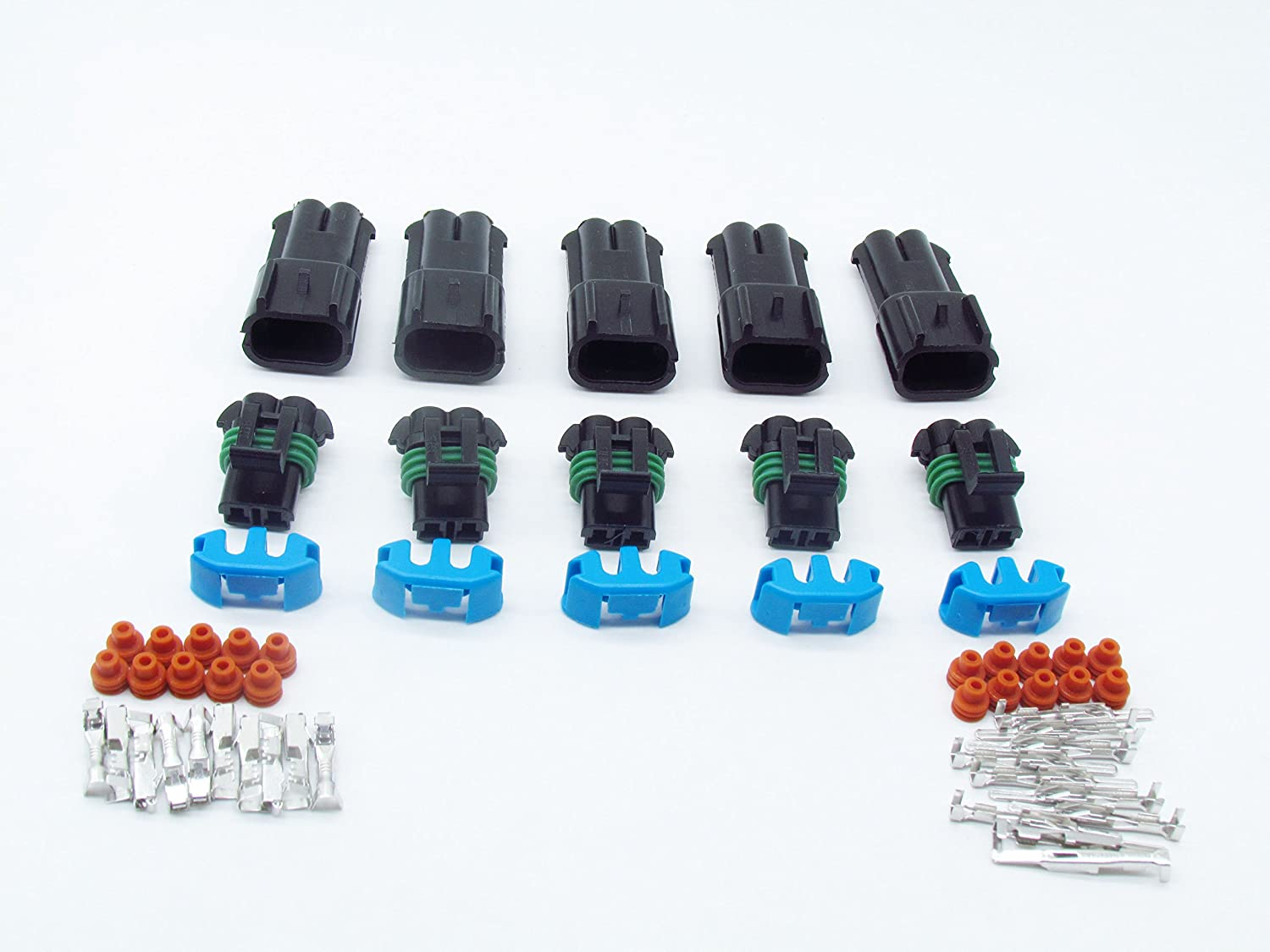 CNKF 5 Sets 2 Way Male female 280 Metri-pack Connector for FORD LINCOLN MERCURY 3U2Z-14S411-GEA 15300002/15300027