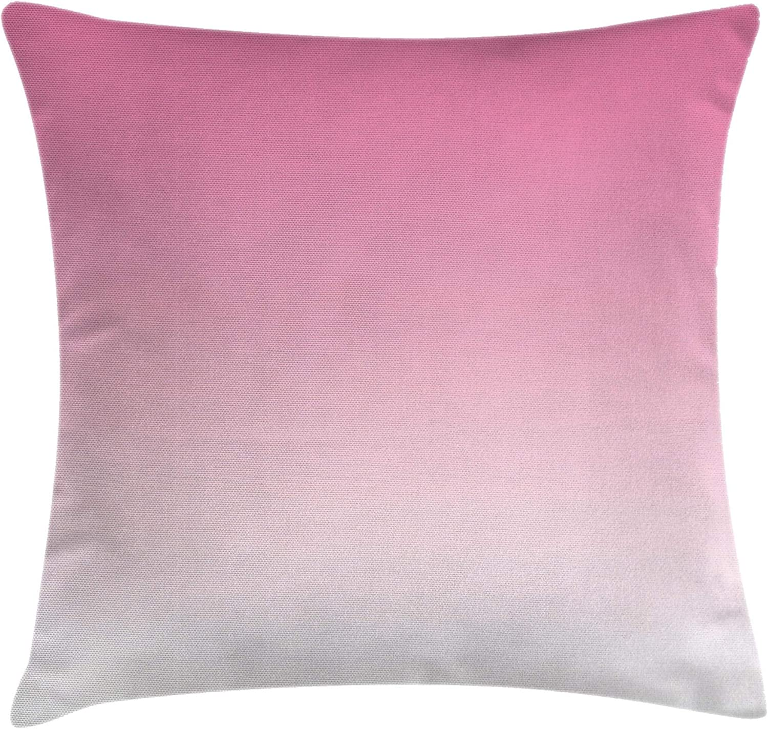 """Ambesonne Ombre Throw Pillow Cushion Cover, Dreamy Pale Pink Waterfall Cotton Candy Inspired Modern Digital Print Girls Artwork, Decorative Square Accent Pillow Case, 18"""" X 18"""", White Pink"""