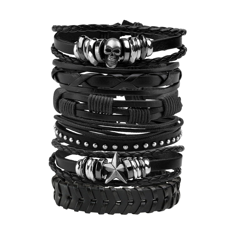 MILAKOO 6 Pcs Leather Bracelet Black Brown Braided Wide Wristband Women Men Punk Jewelry Skull