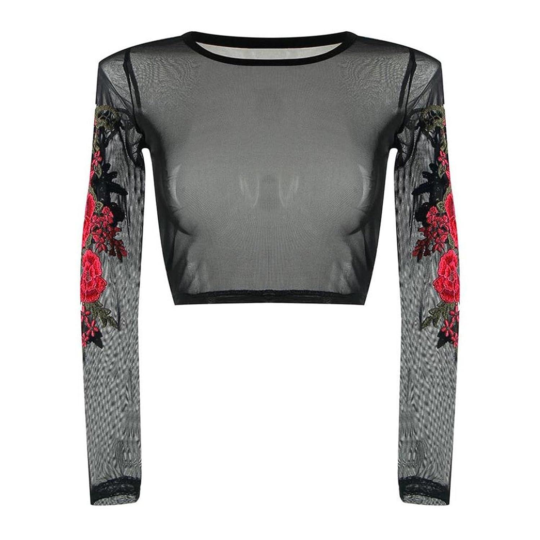 Camiseta transparente, Longra ✿ Mujer Bordado de Rosas Camiseta Blusa Transparente Malla Mangas Largas Elegante Oficina Casual: Amazon.es: Ropa y ...
