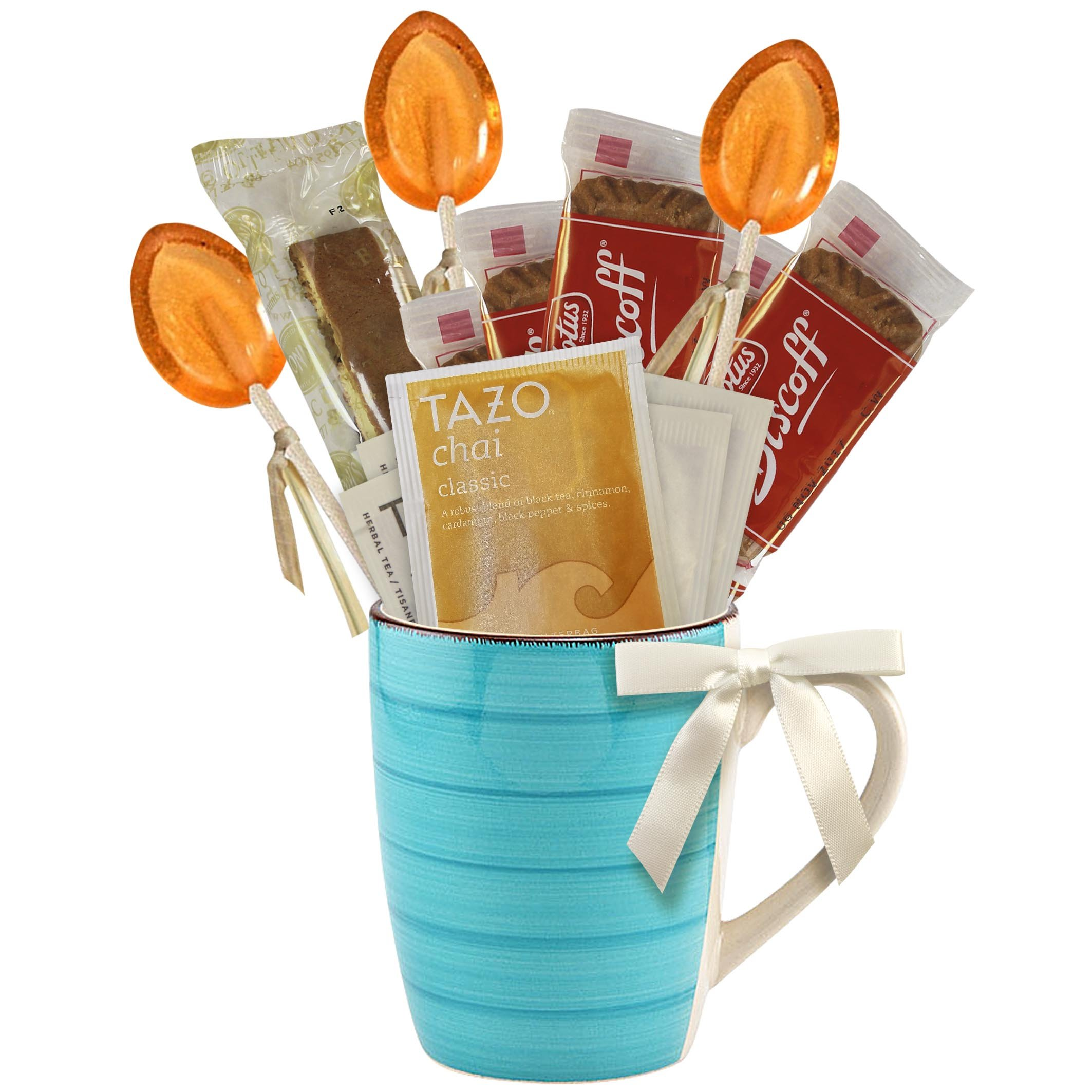 Cottage Lane Hot Tea Mug Boxed Set Featuring Tazo Herbal Tea Bags, Honey Spoon Stirrers, Nonni's Biscotti, and Biscoff Lotus Cookies (Chai Classic Tea, Teal Mug)