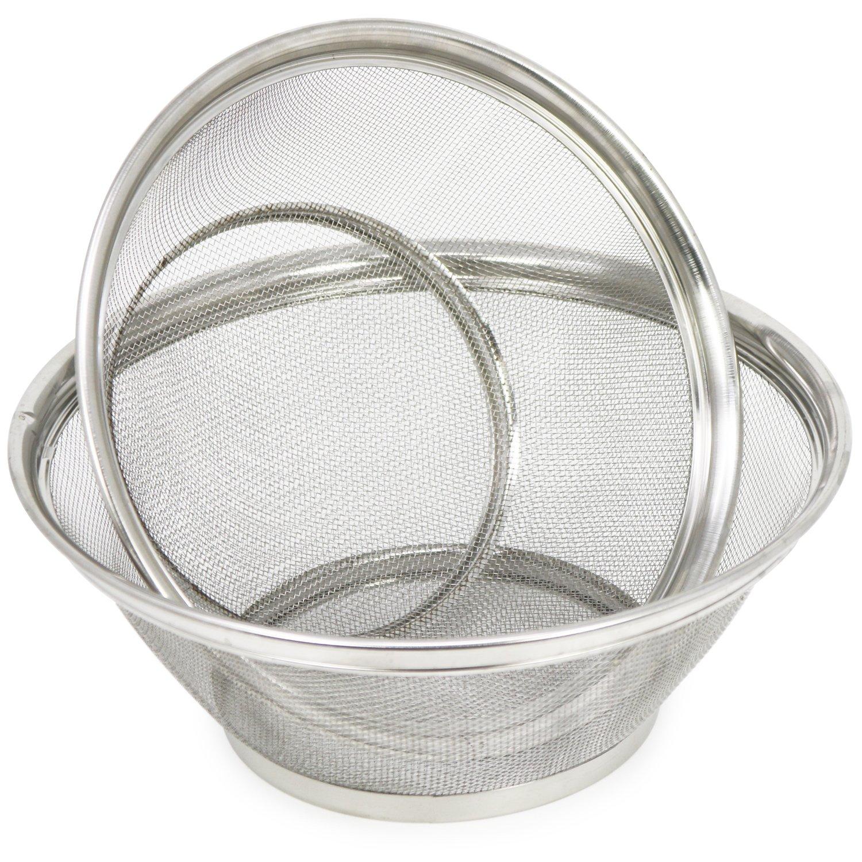 COM-FOUR ® Fine-Meshed Kitchen Sieve, colander or Flour Sieve for Straining and Mist 01 Stück - 42.5x30.5x11cm
