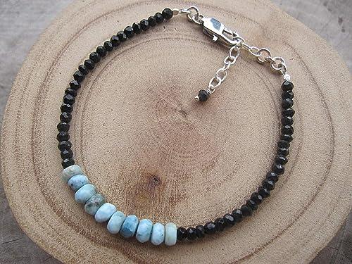 "Natural Larimar Gemstone 3-4mm Rondelle Faceted Beads 7/"" Beaded Bracelet"