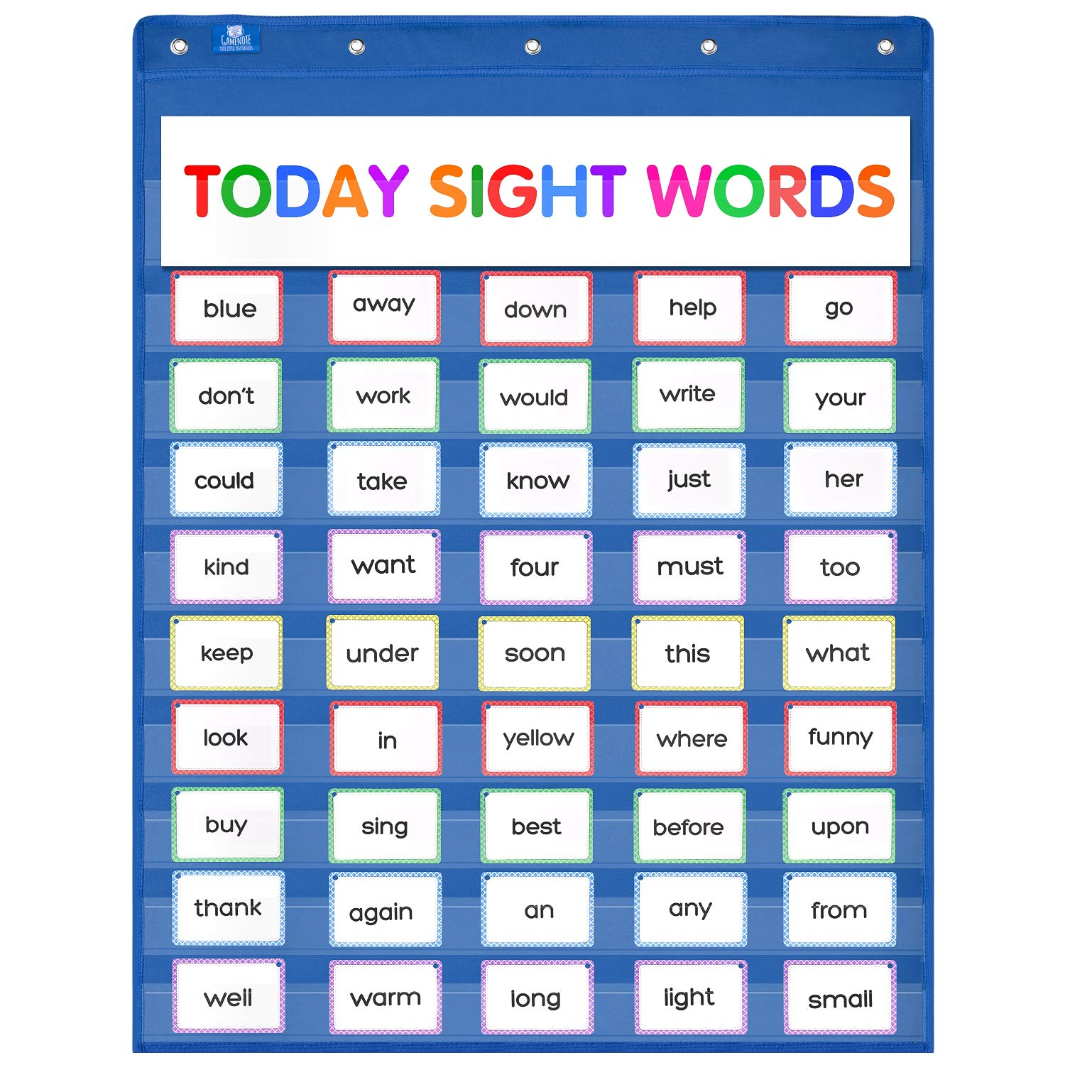 Gamenote Classroom Standard Pocket Chart with Hooks - 34×44 Heavy Duty Hanging Charts for Sentence Strips & Letter Cards & Word Wall (Blue)
