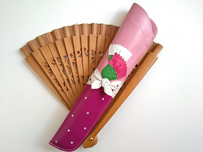 Funda de cuero para abanicos en tonos rosa y púrpura, con motivo floral- folclórico || Leather fan cover in pink and purple tones, with flower ...