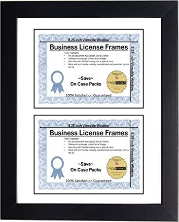 amazon com creative picture frames 11x14 inch double business license frame with white mat holds two 5 5 x 8 5 documents includes easel with installed hanger office products creative picture frames 11x14 inch