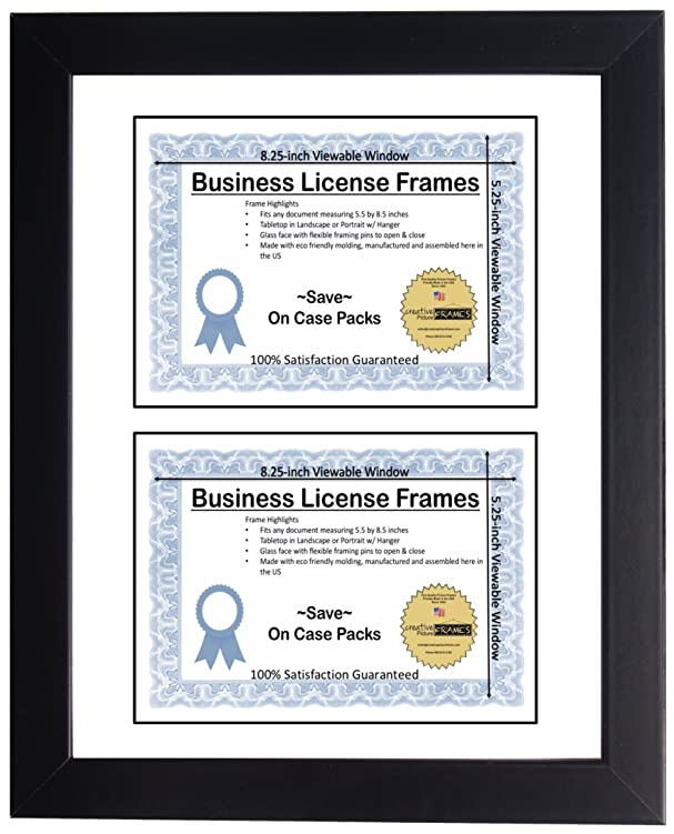 Amazon.com : CreativePF [DL6x9bk-w] Double Business License Frame ...
