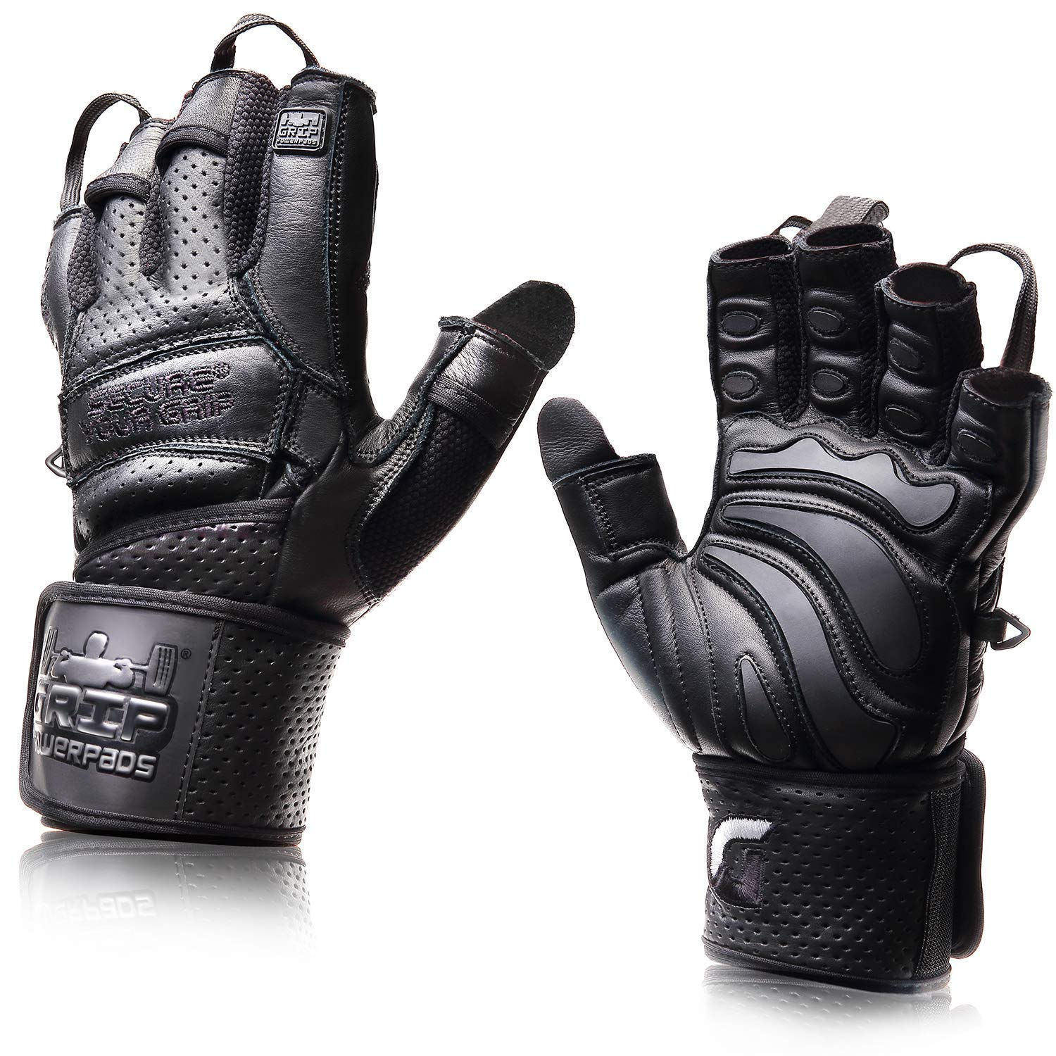 Elite Leather Gym Gloves with Built in 2'' Wide Wrist Wraps Best Leather Glove Design for Weight Power Lifting Bodybuilding & Strength Training Workout Exercises (Black, X-Small)