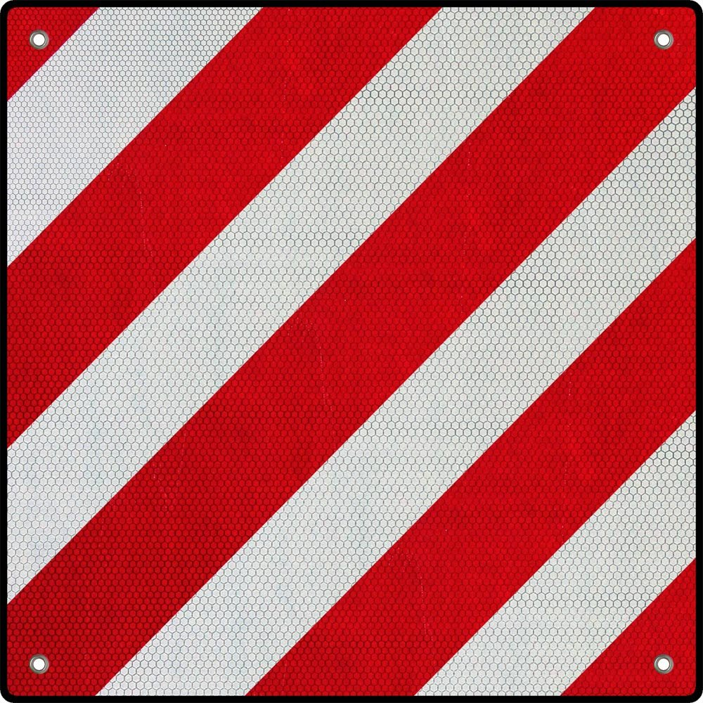 Wiltec Segnale di Pericolo 2 in1 per Spagna e Italia Alluminio 50x50cm Rosso-Bianco Catarifrangente