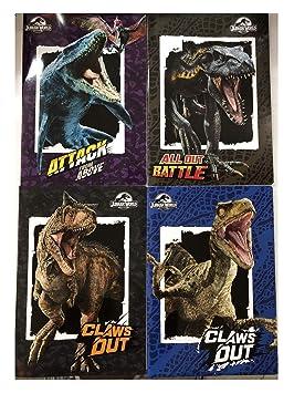 Jurassic World - Cuaderno, 4 piezas, diseño de la Escuela de ...