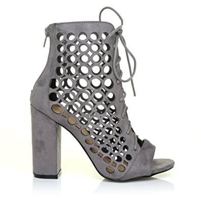 db88093b3cf Justin Grey Suede Tie Lace Up Caged Block Heel Peep Toe Ankle High Sandals   Amazon.co.uk  Shoes   Bags