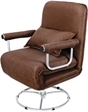 Gemeinsa Sillón Plegable Cama Individual Sofá Giratoria 360° Tumbona Ajustable Relajarse para Sala de Estar
